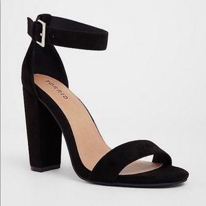 Torrid Black Suede Ankle Strap Heel Sandal 10.5 W